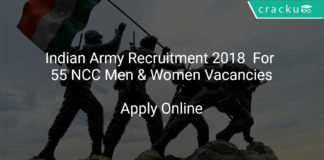 Indian Army Recruitment 2018 Apply Online For 55 NCC Men & Women Vacancies