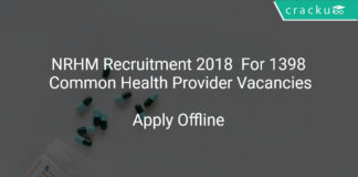 NRHM Recruitment 2018 Apply Offline For 1398 Common Health Provider Vacancies