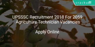 UPSSSC Recruitment 2018 Apply Online For 2059 Agriculture Technician Vacancies