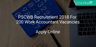PSCWB Recruitment 2018 Apply Online For 200 Work Accountant Vacancies
