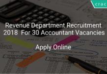 Revenue Department Recruitment 2018 Apply Online For 30 Accountant Vacancies