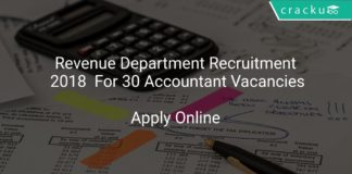 Revenue Department Recruitment 2018 Apply Online For 30 Accountant Vacancies