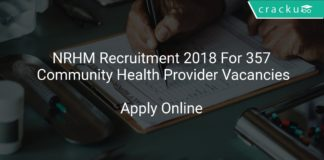 NRHM Recruitment 2018 Apply Offline For 357 Community Health Provider Vacancies