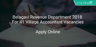 Belagavi Revenue Department 2018 Apply Online For 41 Village Accountant Vacancies