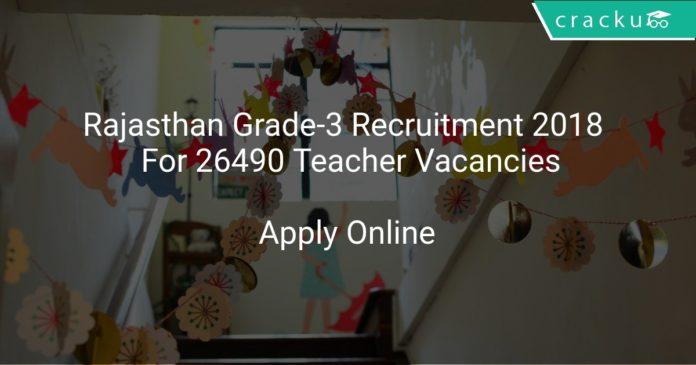 Rajasthan Grade-3 Recruitment 2018 Apply Online For 26490 Teacher Vacancies