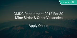 GMDC Recruitment 2018 Apply Online For 30 Mine Sirdar & Other Vacancies