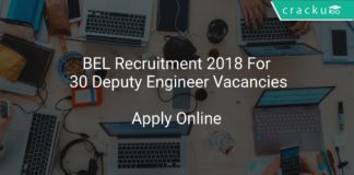 BEL Recruitment 2018 Apply Online For 30 Deputy Engineer Vacancies