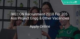 MECON Recruitment 2018 Apply Online For 205 Ass Project Engg & Other Vacancies