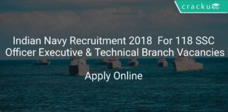 Indian Navy Recruitment 2018 Apply Online For 118 SSC Officer Executive & Technical Branch Vacancies