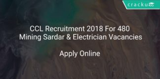 CCL Recruitment 2018 Apply Online For 480 Mining Sardar & Electrician (Non Excavation) Vacancies
