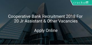 Cooperative Bank Recruitment 2018 Apply Online For 20 Jr Assistant & Other Vacancies