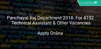 Panchayat Raj Department 2018 Apply Online For 4192 Technical Assistant & Other Vacancies