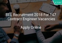 BEL Recruitment 2018 Apply Online For 147 Contract Engineer Vacancies