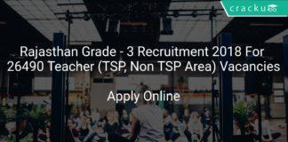 Rajasthan Grade - 3 Recruitment 2018 Apply Online For 26490 Teacher (TSP, Non TSP Area) Vacancies