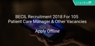 BECIL Recruitment 2018 Apply Online For 105 Patient Care Manager & Other Vacancies
