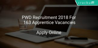 PWD Recruitment 2018 Apply Online For 163 Apprentice Vacancies