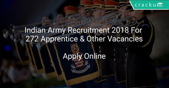 Indian Army Recruitment 2018 Apply Online For 272 Apprentice & Other Vacancies
