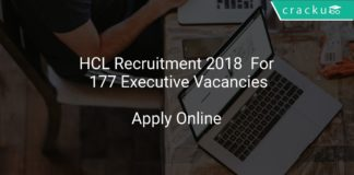 HCL Recruitment 2018 Apply Online For 177 Executive Vacancies