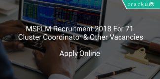 MSRLM Recruitment 2018 Apply Online For 71 Cluster Coordinator & Other Vacancies