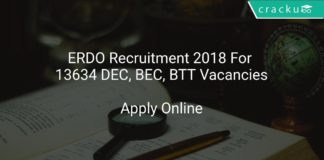 ERDO Recruitment 2018 Apply Online For 13634 DEC, BEC, BTT Vacancies