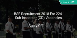 BSF Recruitment 2018 Apply Offline For 224 Sub Inspector (GD) Vacancies