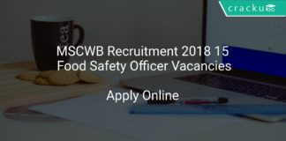 MSCWB Recruitment 2018 Apply Online 15 Food Safety Officer Vacancies