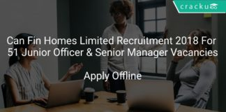 Can Fin Homes Limited Recruitment 2018 Apply Online For 51 Junior Officer & Senior Manager Vacancies
