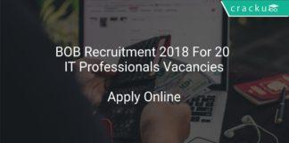 BOB Recruitment 2018 Apply Online For 20 IT Professionals Vacancies