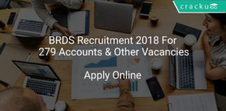 BRDS Recruitment 2018 Apply Online For 279 Accounts & Other Vacancies