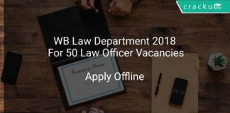 WB Law Department 2018 Apply Offline For 50 Law Officer Vacancies
