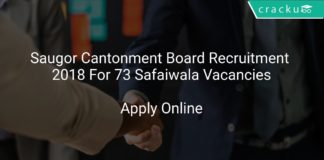 Saugor Cantonment Board Recruitment 2018 Apply Online For 73 Safaiwala Vacancies