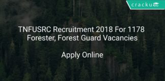 TNFUSRC Recruitment 2018 Apply Online For 1178 Forester, Forest Guard Vacancies