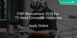 ITBP Recruitment 2018 Apply Online For 73 Head Constable Vacancies