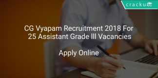CG Vyapam Recruitment 2018 Apply Online For 25 Assistant Grade lll Vacancies