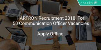 HARTRON Recruitment 2018 Apply Offline For 50 Communication Officer Vacancies