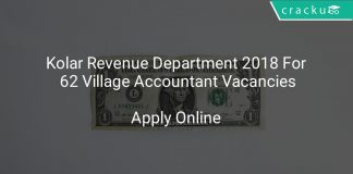 Kolar Revenue Department 2018 Apply Online For 62 Village Accountant Vacancies