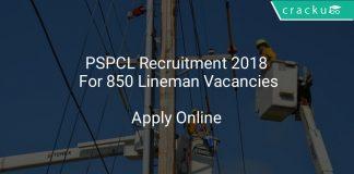 PSPCL Recruitment 2018 Apply Online For 850 Lineman Vacancies