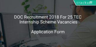 DOC Recruitment 2018 Application Form For 25 TEM Internship Scheme Vacancies