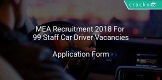 MEA Recruitment 2018 Application Form For 99 Staff Car Driver Vacancies