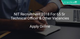 NIT Recruitment 2018 Apply Online For 65 Sr Technical Officer & Other Vacancies