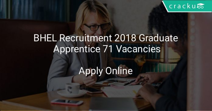 BHEL Recruitment 2018 Graduate Apprentice 71 Vacancies
