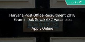 Haryana Post Office Recruitment 2018 Gramin Dak Sevak 682 Vacancies