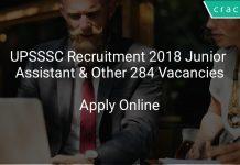 UPSSSC Recruitment 2018 Junior Assistant & Other 284 Vacancies