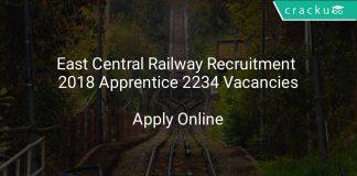 East Central Railway Recruitment 2018 Apprentice 2234 Vacancies