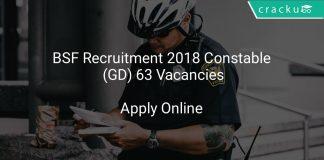 BSF Recruitment 2018 Constable (GD) 63 Vacancies