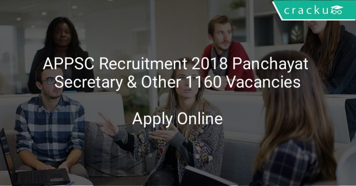 APPSC Recruitment 2018 Panchayat Secretary & Other 1160 Vacancies