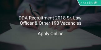 DDA Recruitment 2018 Sr. Law Officer & Other 190 Vacancies