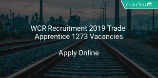 WCR Recruitment 2019 Trade Apprentice 1273 Vacancies