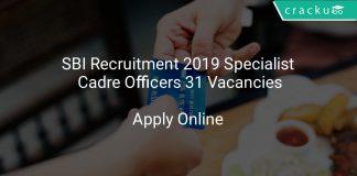 SBI Recruitment 2019 Specialist Cadre Officers