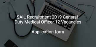 SAIL Recruitment 2019 General Duty Medical Officer 12 Vacancies